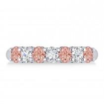 Oval Diamond & Morganite Seven Stone Ring 14k White Gold (1.40ct)