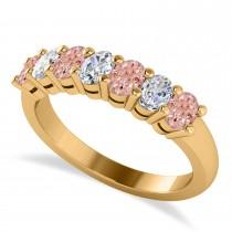 Oval Diamond & Morganite Seven Stone Ring 14k Yellow Gold (1.40ct)