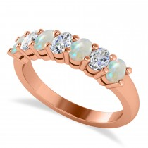 Oval Diamond & Opal Seven Stone Ring 14k Rose Gold (1.40ct)