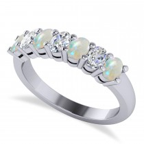 Oval Diamond & Opal Seven Stone Ring 14k White Gold (1.40ct)