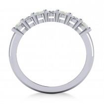 Oval Diamond & Opal Seven Stone Ring 14k White Gold (1.40ct)