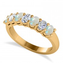 Oval Diamond & Opal Seven Stone Ring 14k Yellow Gold (1.40ct)