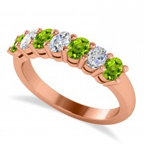 Oval Diamond & Peridot Seven Stone Ring 14k Rose Gold (1.40ct)