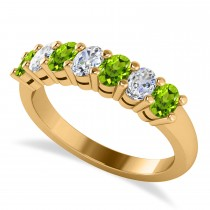 Oval Diamond & Peridot Seven Stone Ring 14k Yellow Gold (1.40ct)