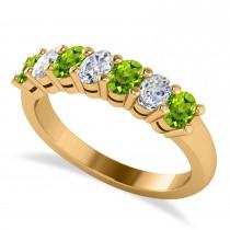Oval Diamond & Peridot Seven Stone Ring 14k Yellow Gold (1.40ct)