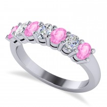 Oval Diamond & Pink Sapphire Seven Stone Ring 14k White Gold (1.40ct)