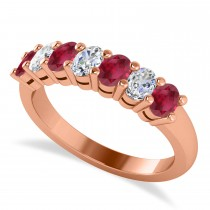 Oval Diamond & Ruby Seven Stone Ring 14k Rose Gold (1.40ct)