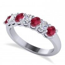 Oval Diamond & Ruby Seven Stone Ring 14k White Gold (1.40ct)