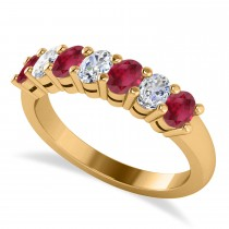 Oval Diamond & Ruby Seven Stone Ring 14k Yellow Gold (1.40ct)