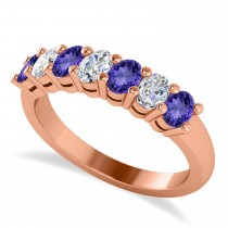 Oval Diamond & Tanzanite Seven Stone Ring 14k Rose Gold (1.40ct)