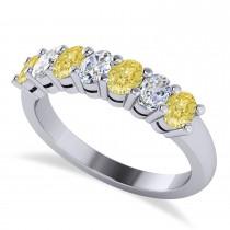 Oval Yellow & White Diamond Seven Stone Ring 14k White Gold (1.40ct)