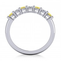 Oval Yellow & White Diamond Seven Stone Ring 14k White Gold (1.40ct) escape