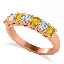 Oval Diamond & Yellow Sapphire Seven Stone Ring 14k Rose Gold (1.40ct)