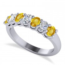 Oval Diamond & Yellow Sapphire Seven Stone Ring 14k White Gold (1.40ct)