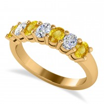 Oval Diamond & Yellow Sapphire Seven Stone Ring 14k Yellow Gold (1.40ct)