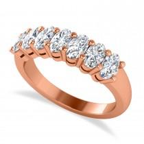 Oval Diamond Seven Stone Wedding Band 14k Rose Gold (1.75ct)