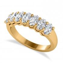 Oval Diamond Seven Stone Wedding Band 14k Yellow Gold (1.75ct)