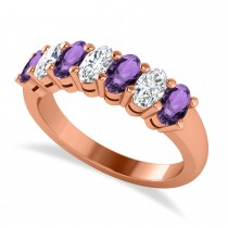 Oval Diamond & Amethyst Seven Stone Ring 14k Rose Gold (1.67ct)