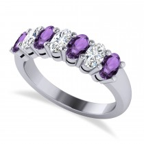 Oval Diamond & Amethyst Seven Stone Ring 14k White Gold (1.67ct)