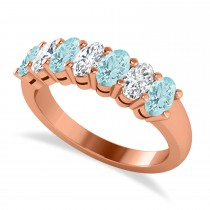 Oval Diamond & Aquamarine Seven Stone Ring 14k Rose Gold (1.55ct)