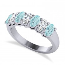 Oval Diamond & Aquamarine Seven Stone Ring 14k White Gold (1.55ct)