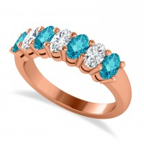 Oval Blue & White Diamond Seven Stone Ring 14k Rose Gold (1.75ct)