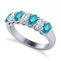 Oval Blue & White Diamond Seven Stone Ring 14k White Gold (1.75ct)