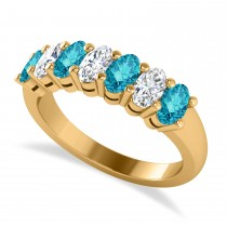 Oval Blue & White Diamond Seven Stone Ring 14k Yellow Gold (1.75ct)