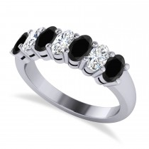 Oval Black & White Diamond Seven Stone Ring 14k White Gold (1.75ct)