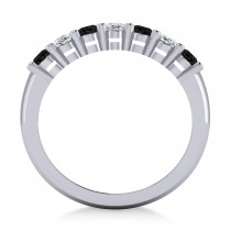 Oval Black & White Diamond Seven Stone Ring 14k White Gold (1.75ct)|escape