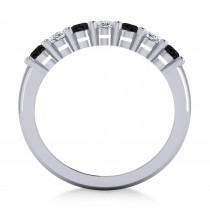 Oval Black & White Diamond Seven Stone Ring 14k White Gold (1.75ct)
