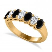 Oval Black & White Diamond Seven Stone Ring 14k Yellow Gold (1.75ct)