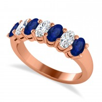 Oval Diamond & Blue Sapphire Seven Stone Ring 14k Rose Gold (2.15ct)