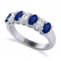 Oval Diamond & Blue Sapphire Seven Stone Ring 14k White Gold (2.15ct)
