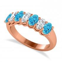 Oval Diamond & Blue Topaz Seven Stone Ring 14k Rose Gold (1.87ct)