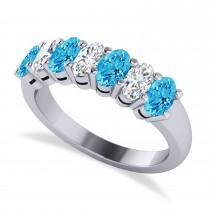 Oval Diamond & Blue Topaz Seven Stone Ring 14k White Gold (1.87ct)