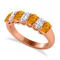 Oval Diamond & Citrine Seven Stone Ring 14k Rose Gold (1.67ct)