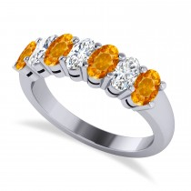 Oval Diamond & Citrine Seven Stone Ring 14k White Gold (1.67ct)