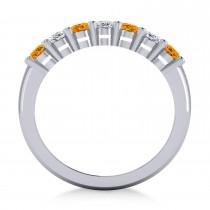 Oval Diamond & Citrine Seven Stone Ring 14k White Gold (1.67ct)