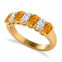 Oval Diamond & Citrine Seven Stone Ring 14k Yellow Gold (1.67ct)