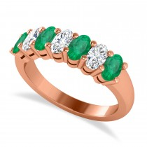 Oval Diamond & Emerald Seven Stone Ring 14k Rose Gold (1.87ct)