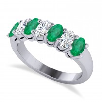 Oval Diamond & Emerald Seven Stone Ring 14k White Gold (1.87ct)