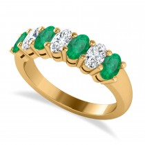 Oval Diamond & Emerald Seven Stone Ring 14k Yellow Gold (1.87ct)