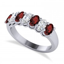 Oval Diamond & Garnet Seven Stone Ring 14k White Gold (1.75ct)