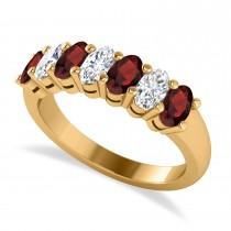 Oval Diamond & Garnet Seven Stone Ring 14k Yellow Gold (1.75ct)