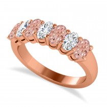Oval Diamond & Morganite Seven Stone Ring 14k Rose Gold (1.75ct)