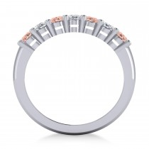 Oval Diamond & Morganite Seven Stone Ring 14k White Gold (1.75ct)