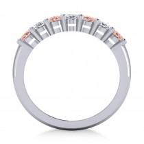 Oval Diamond & Morganite Seven Stone Ring 14k White Gold (1.75ct)|escape