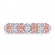 Oval Diamond & Morganite Seven Stone Ring 14k White Gold (1.75ct)
