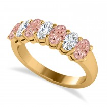 Oval Diamond & Morganite Seven Stone Ring 14k Yellow Gold (1.75ct)